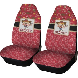 Red Western Car Seat Covers (Set of Two) (Personalized)