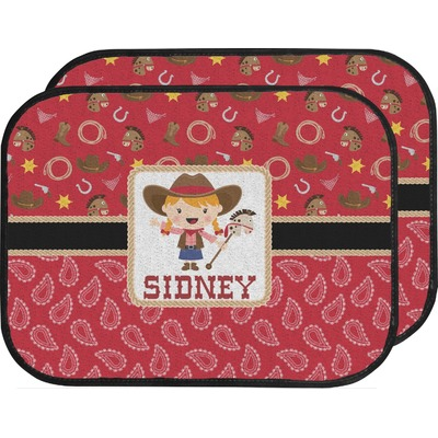 Red Western Car Floor Mats (Back Seat) (Personalized)