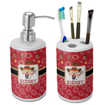 Red Western Bathroom Accessories Set (Ceramic) (Personalized)