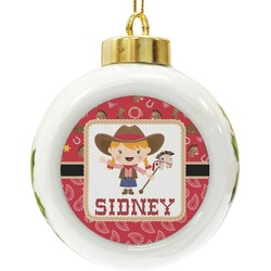 Red Western Ceramic Ball Ornament (Personalized)
