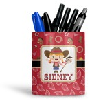 Red Western Ceramic Pen Holder