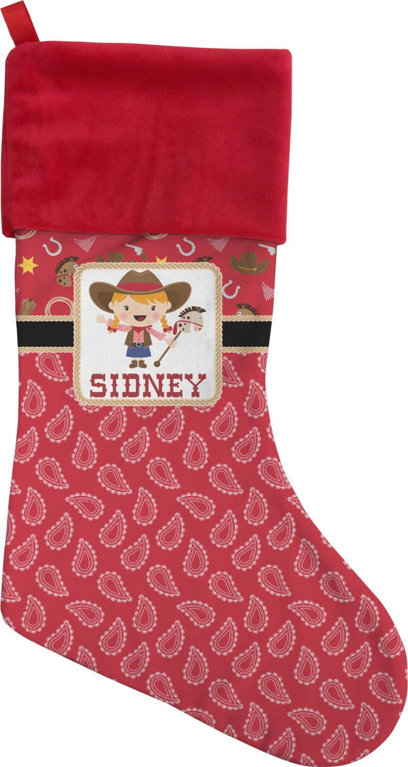 Red Western Christmas Stocking Personalized