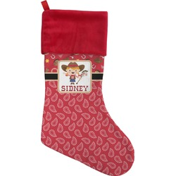 Red Western Christmas Stocking (Personalized)