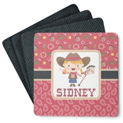 Red Western 4 Square Coasters - Rubber Backed (Personalized)