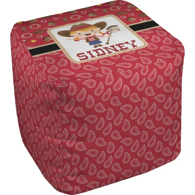 Red Western Cube Pouf Ottoman (Personalized)