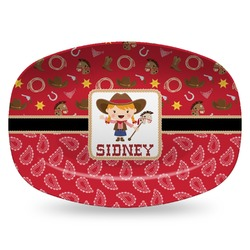 Red Western Plastic Platter - Microwave & Oven Safe Composite Polymer (Personalized)