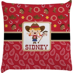 Red Western Decorative Pillow Case (Personalized)