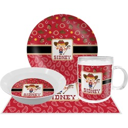 Red Western Dinner Set - 4 Pc (Personalized)