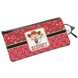 Red Western Genuine Leather Eyeglass Case (Personalized)