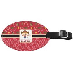 Red Western Genuine Leather Oval Luggage Tag (Personalized)