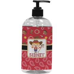 Red Western Plastic Soap / Lotion Dispenser (Personalized)