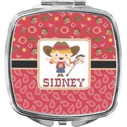 Red Western Compact Makeup Mirror (Personalized)