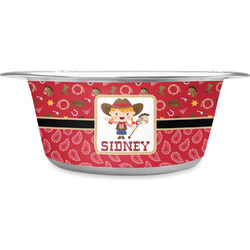 Red Western Stainless Steel Pet Bowl (Personalized)