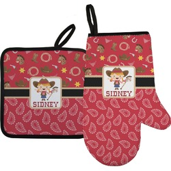 Red Western Oven Mitt & Pot Holder (Personalized)