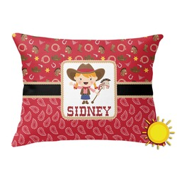 Red Western Outdoor Throw Pillow (Rectangular) (Personalized)