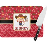 Red Western Rectangular Glass Cutting Board (Personalized)