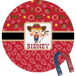 Red Western Round Magnet (Personalized)