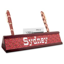 Red Western Red Mahogany Nameplate with Business Card Holder (Personalized)