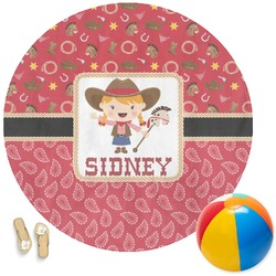 Red Western Round Beach Towel (Personalized)