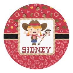 Red Western Round Decal - Custom Size (Personalized)