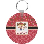 Red Western Round Keychain (Personalized)