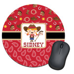 Red Western Round Mouse Pad (Personalized)