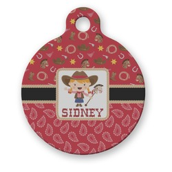 Red Western Round Pet Tag (Personalized)