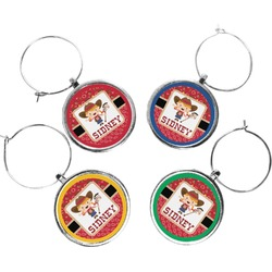Red Western Wine Charms (Set of 4) (Personalized)