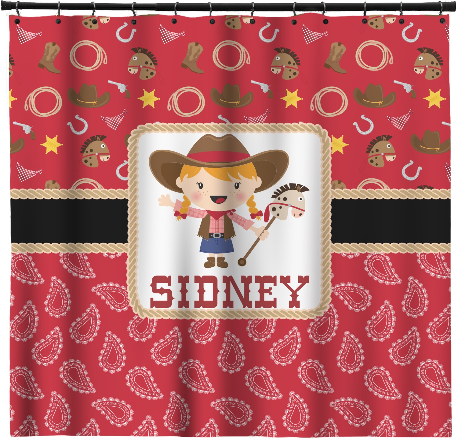 Red Western Shower Curtain Custom Width Height Personalized Youcustomizeit