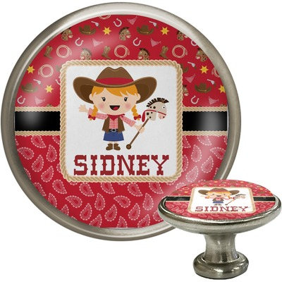 Red Western Cabinet Knob (Silver) (Personalized)