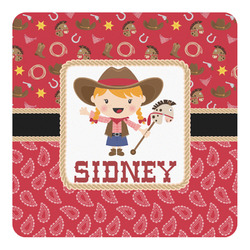 Red Western Square Decal - Medium (Personalized)