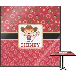 Red Western Square Table Top (Personalized)