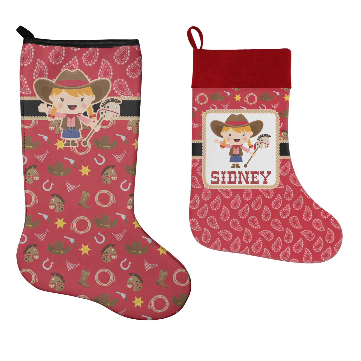 Western Christmas Stockings Personalized.Red Western Christmas Stocking Personalized