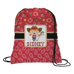 Red Western Drawstring Backpack (Personalized)