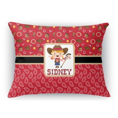 Red Western Rectangular Throw Pillow Case (Personalized)