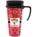 Red Western Travel Mug with Handle (Personalized)
