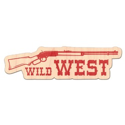 Red Western Genuine Maple or Cherry Wood Sticker (Personalized)