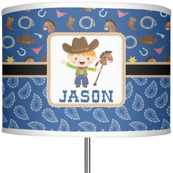 "Blue Western 13"" Drum Lamp Shade (Personalized)"