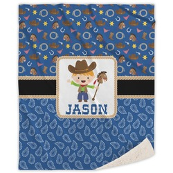 Blue Western Sherpa Throw Blanket (Personalized)