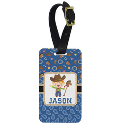 Blue Western Metal Luggage Tag w/ Name or Text
