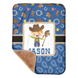 "Blue Western Sherpa Baby Blanket 30"" x 40"" (Personalized)"