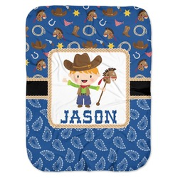 Blue Western Baby Swaddling Blanket (Personalized)