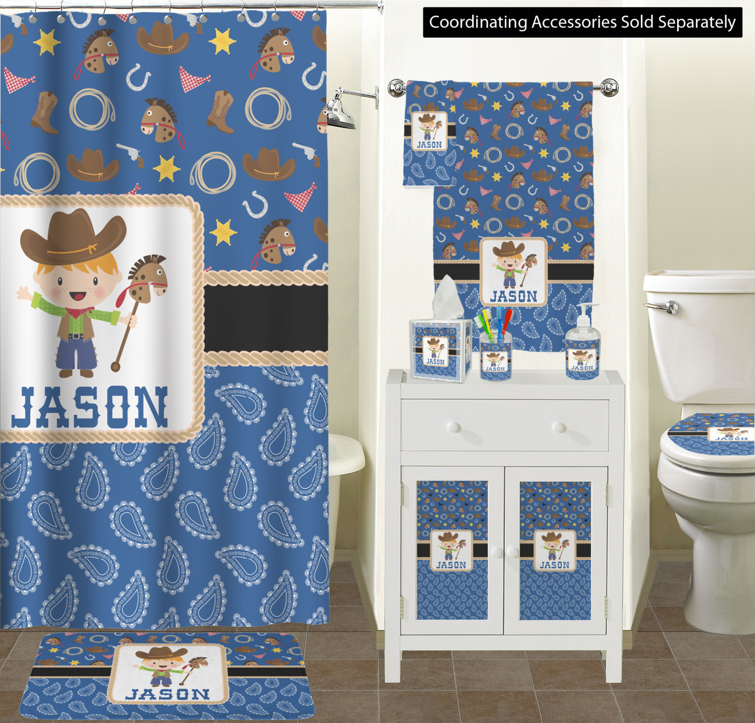 Blue Western Shower Curtain Personalized Youcustomizeit