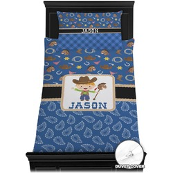 Blue Western Duvet Cover Set - Twin (Personalized)