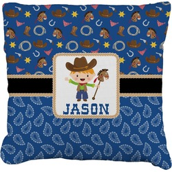 """Blue Western Faux-Linen Throw Pillow 26"""" (Personalized)"""
