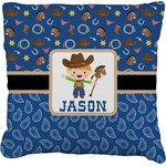 Blue Western Faux-Linen Throw Pillow (Personalized)