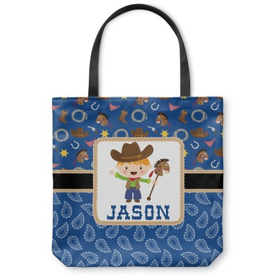 Blue Western Canvas Tote Bag (Personalized)