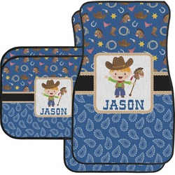 Blue Western Car Floor Mats Set - 2 Front & 2 Back (Personalized)