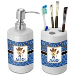 Blue Western Bathroom Accessories Set (Ceramic) (Personalized)