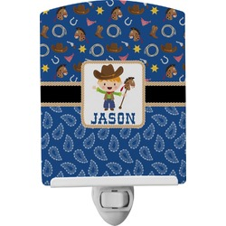 Blue Western Ceramic Night Light (Personalized)
